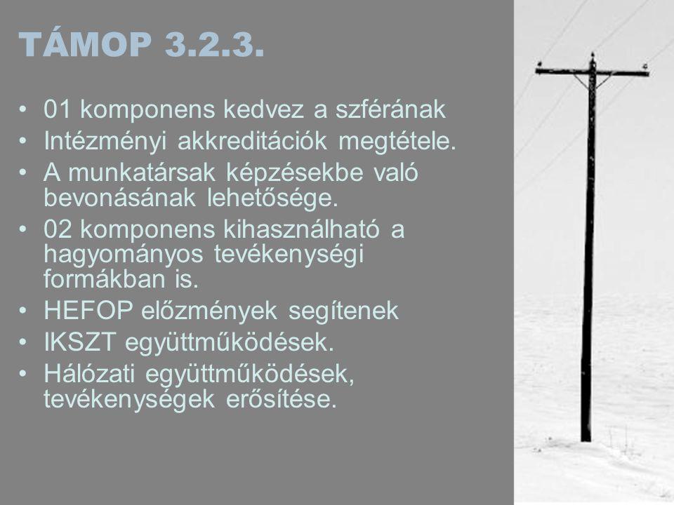 TÁMOP 3.2.3. •01 komponens kedvez a szférának •Intézményi akkreditációk megtétele.