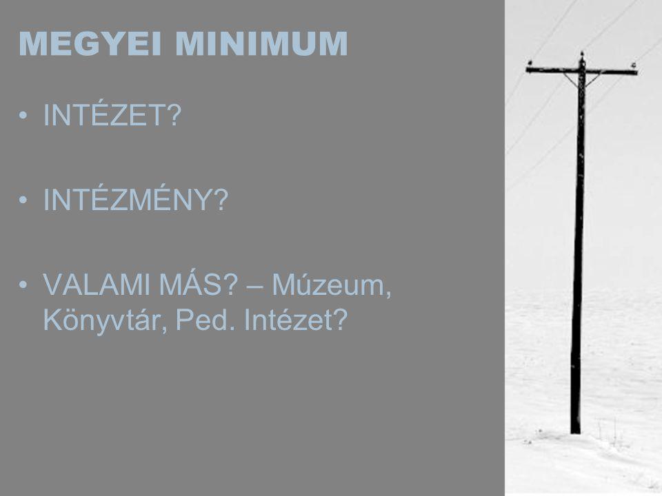 MEGYEI MINIMUM •INTÉZET •INTÉZMÉNY •VALAMI MÁS – Múzeum, Könyvtár, Ped. Intézet