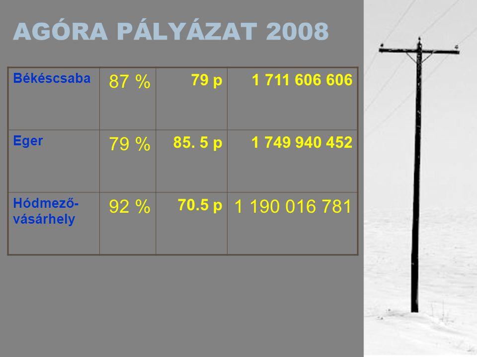 AGÓRA PÁLYÁZAT 2008 Kaposvár 92 % 92 p1 717 684 153 Nyíregyháza 70 % 76 p1 716 484 000 Szekszárd 85 % 73 p1 718 893 000