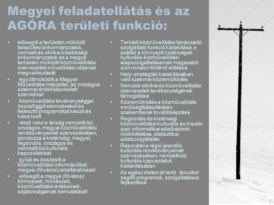 Megyei feladatellátás és az AGÓRA területi funkció: •elősegíti a területén működő települési önkormányzatok, nemzeti és etnikai kisebbségi önkormányzatok és a megye területén működő közművelődési szervezetek művelődési céljának megvalósulását • együttműködik a Magyar Művelődési Intézettel, az országos szakmai érdekképviseleti szervekkel • közművelődési tevékenységgel összefüggő elemzéseket és fejlesztő programokat készít és hasznosít • részt vesz a térség nemzetközi, országos, megyei közművelődési rendezvényeinek szervezésében, gondozza a kistérségi, megyei, regionális, országos és nemzetközi kulturális kapcsolatokat • gyűjti és összesíti a közművelődési információkat, megyei (fővárosi) adattárat kezel • elősegíti a megye (főváros) környezeti, művészeti, közművelődési értékeinek, sajátosságainak bemutatását •Területi közművelődési tanácsadó szolgáltató funkció kialakítása, s ezáltal a környező kistérségek kulturális-közművelődési alapszolgáltatásainak magasabb színvonalon történő ellátása •Helyi stratégiák kialakításában való szakmai közreműködés •Nemzeti-etnikai és közművelődési szervezetek tevékenységének támogatása •Közreműködés a közművelődés minőségfejlesztésben szakemberek továbbképzése •Regionális és kistérségi közművelődési kulturális ás kreatív ipari informatikai adatbázisok működtetése, statisztikai adatszolgáltatás •Részvétel e régió jelentős kulturális rendezvényeinek szervezésében, nemzetközi kulturális kapcsolatok kialakításában •Az egész életen át tartó tanulást segítő programok, szolgáltatások fejlesztése