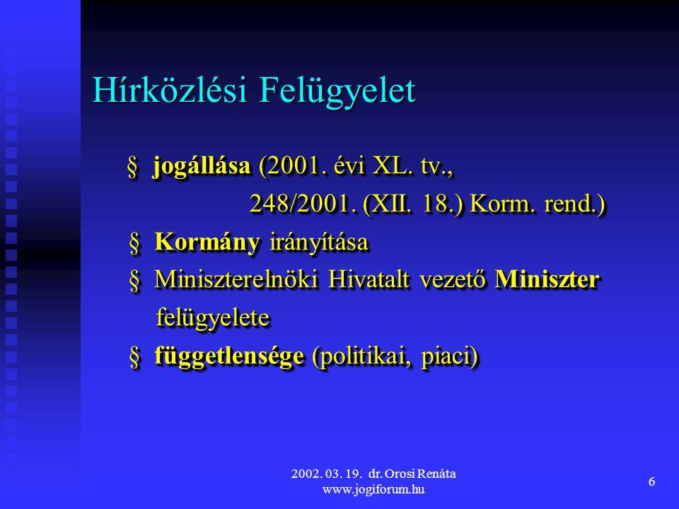 2002.03. 19. dr. Orosi Renáta www.jogiforum.hu 6 Hírközlési Felügyelet § jogállása (2001.