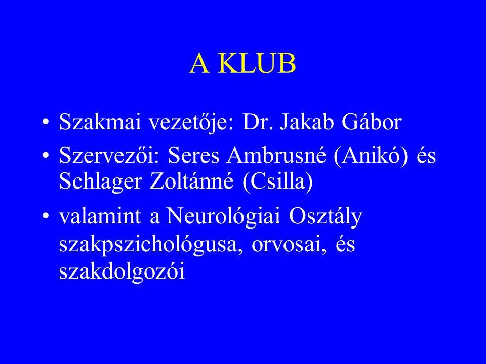 A KLUB •Szakmai vezetője: Dr.