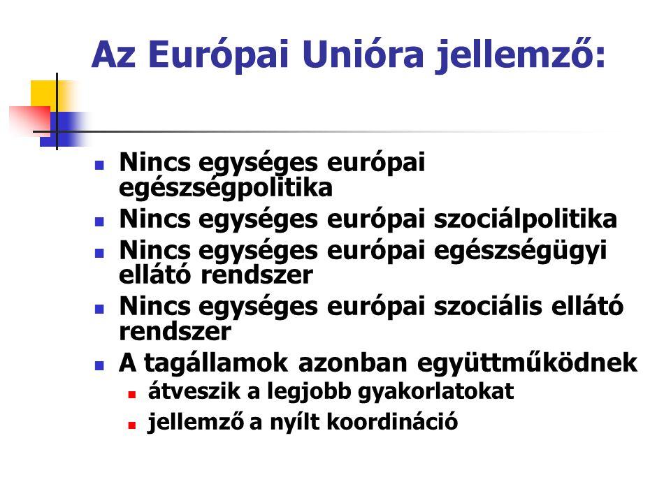 Az Európai Unióra jellemző:  Nincs egységes európai egészségpolitika  Nincs egységes európai szociálpolitika  Nincs egységes európai egészségügyi e