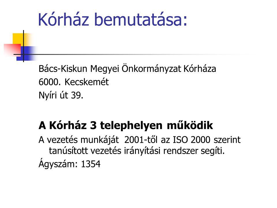 Kórház bemutatása: Bács-Kiskun Megyei Önkormányzat Kórháza 6000. Kecskemét Nyíri út 39. A Kórház 3 telephelyen működik A vezetés munkáját 2001-től az
