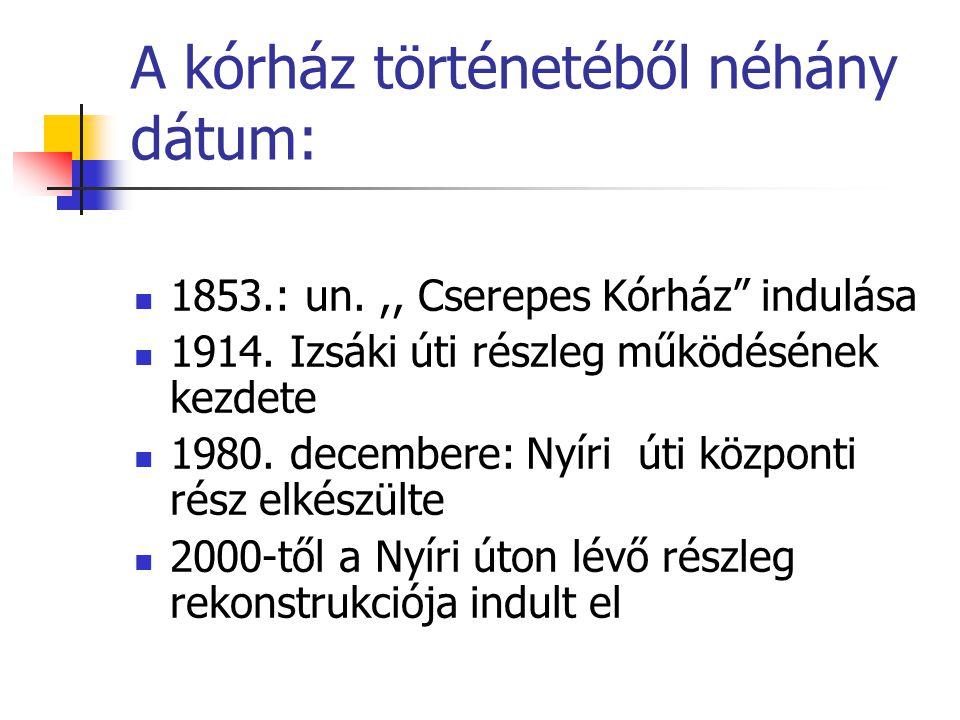 """A kórház történetéből néhány dátum:  1853.: un.,, Cserepes Kórház"""" indulása  1914. Izsáki úti részleg működésének kezdete  1980. decembere: Nyíri ú"""