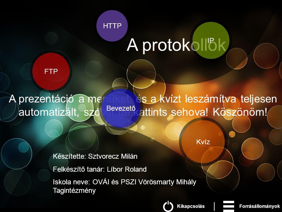 FTP Kvíz HTTP A protokollok Készítette: Sztvorecz Milán Felkészítő tanár: Líbor Roland Iskola neve: OVÁI és PSZI Vörösmarty Mihály Tagintézmény A prezentáció a menüket, és a kvízt leszámítva teljesen automatizált, szóval ne kattints sehova.
