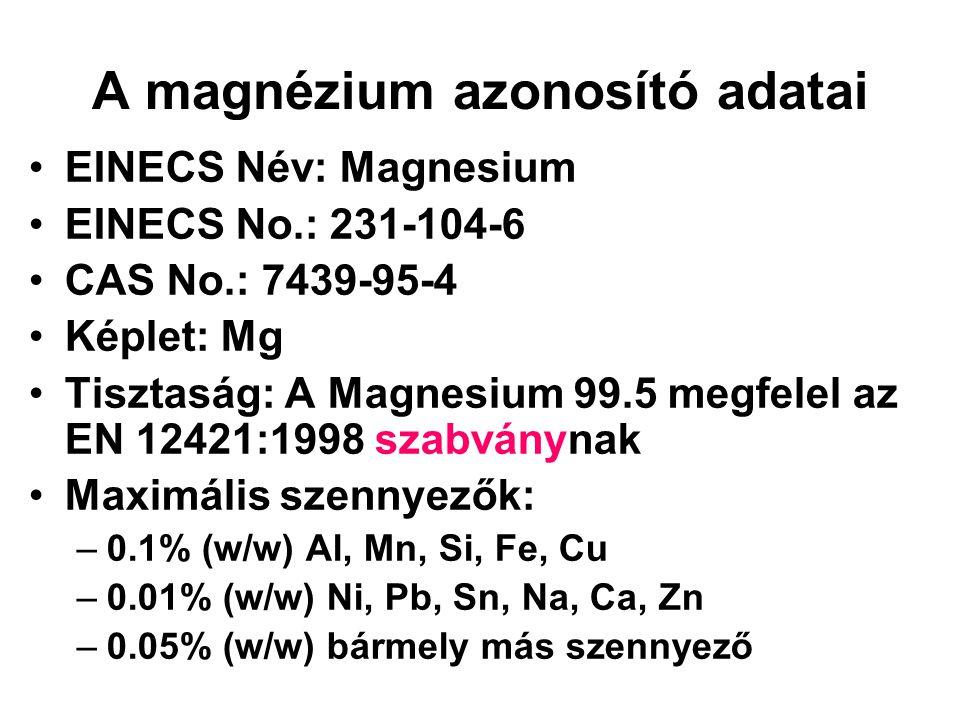 A magnézium azonosító adatai •EINECS Név: Magnesium •EINECS No.: 231-104-6 •CAS No.: 7439-95-4 •Képlet: Mg •Tisztaság: A Magnesium 99.5 megfelel az EN 12421:1998 szabványnak •Maximális szennyezők: –0.1% (w/w) Al, Mn, Si, Fe, Cu –0.01% (w/w) Ni, Pb, Sn, Na, Ca, Zn –0.05% (w/w) bármely más szennyező