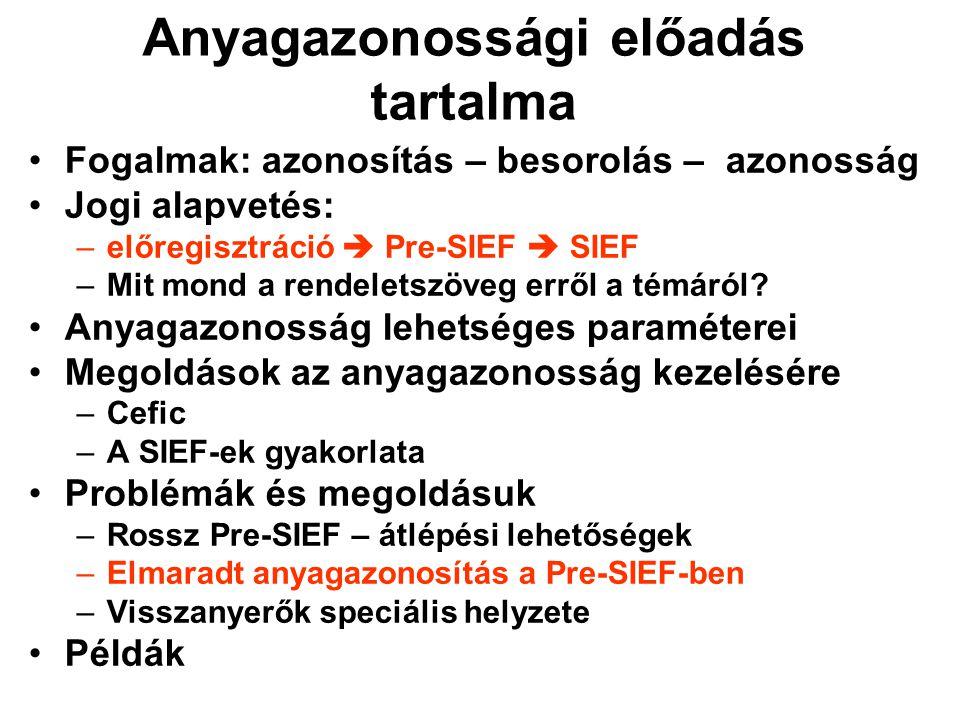 Anyagazonossági előadás tartalma •Fogalmak: azonosítás – besorolás – azonosság •Jogi alapvetés: –előregisztráció  Pre-SIEF  SIEF –Mit mond a rendeletszöveg erről a témáról.