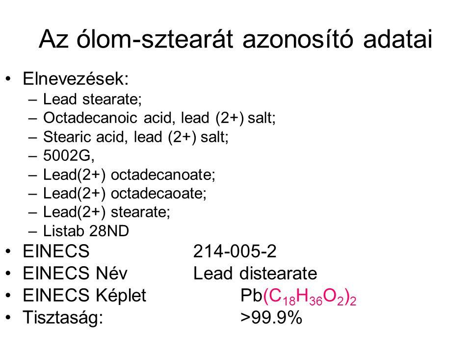 Az ólom-sztearát azonosító adatai •Elnevezések: –Lead stearate; –Octadecanoic acid, lead (2+) salt; –Stearic acid, lead (2+) salt; –5002G, –Lead(2+) octadecanoate; –Lead(2+) octadecaoate; –Lead(2+) stearate; –Listab 28ND •EINECS 214-005-2 •EINECS Név Lead distearate •EINECS Képlet Pb(C 18 H 36 O 2 ) 2 •Tisztaság: >99.9%