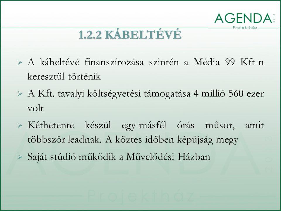 1.2.2 KÁBELTÉVÉ  A kábeltévé finanszírozása szintén a Média 99 Kft-n keresztül történik  A Kft. tavalyi költségvetési támogatása 4 millió 560 ezer v