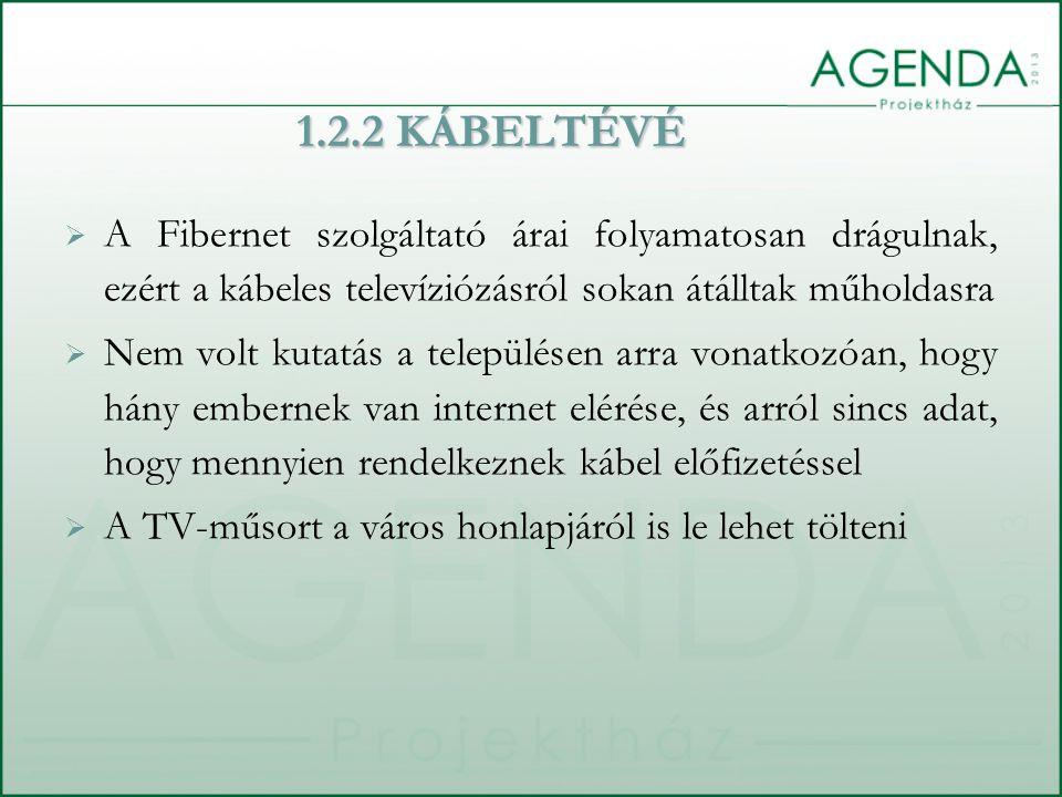  A Fibernet szolgáltató árai folyamatosan drágulnak, ezért a kábeles televíziózásról sokan átálltak műholdasra  Nem volt kutatás a településen arra vonatkozóan, hogy hány embernek van internet elérése, és arról sincs adat, hogy mennyien rendelkeznek kábel előfizetéssel  A TV-műsort a város honlapjáról is le lehet tölteni 1.2.2 KÁBELTÉVÉ