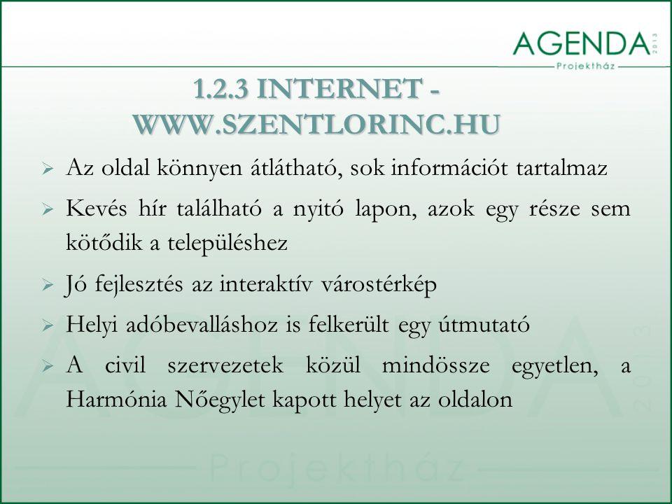 1.2.3 INTERNET - WWW.SZENTLORINC.HU  Az oldal könnyen átlátható, sok információt tartalmaz  Kevés hír található a nyitó lapon, azok egy része sem kötődik a településhez  Jó fejlesztés az interaktív várostérkép  Helyi adóbevalláshoz is felkerült egy útmutató  A civil szervezetek közül mindössze egyetlen, a Harmónia Nőegylet kapott helyet az oldalon