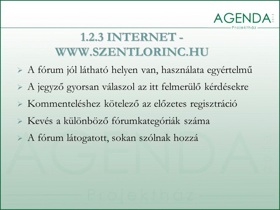  A fórum jól látható helyen van, használata egyértelmű  A jegyző gyorsan válaszol az itt felmerülő kérdésekre  Kommenteléshez kötelező az előzetes regisztráció  Kevés a különböző fórumkategóriák száma  A fórum látogatott, sokan szólnak hozzá 1.2.3 INTERNET - WWW.SZENTLORINC.HU
