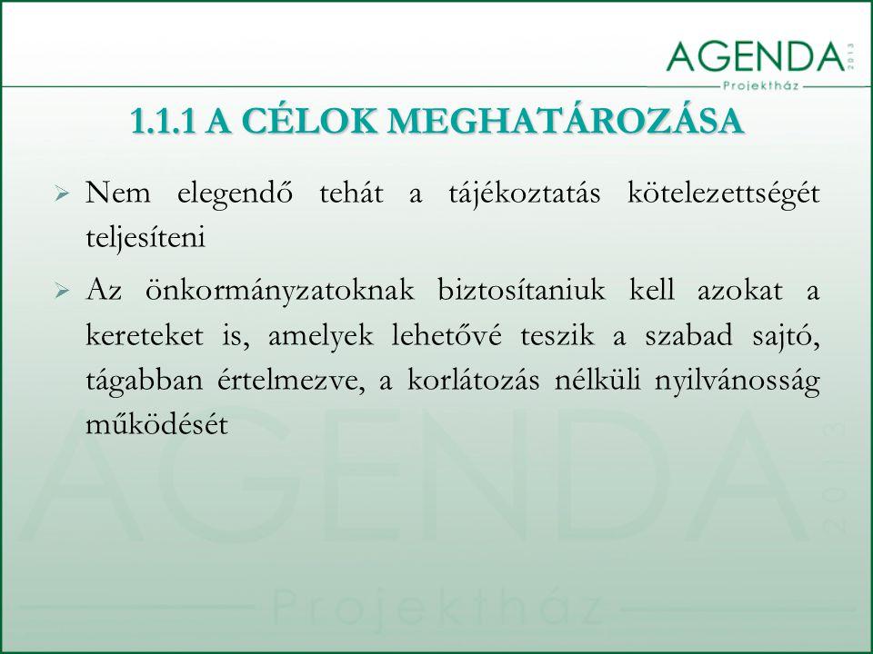  Nem elegendő tehát a tájékoztatás kötelezettségét teljesíteni  Az önkormányzatoknak biztosítaniuk kell azokat a kereteket is, amelyek lehetővé tesz