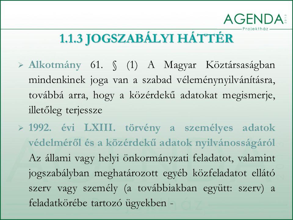  Alkotmány 61. § (1) A Magyar Köztársaságban mindenkinek joga van a szabad véleménynyilvánításra, továbbá arra, hogy a közérdekű adatokat megismerje,
