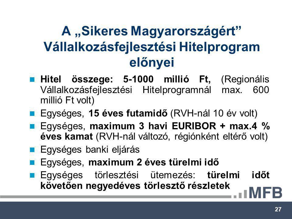 """27 A """"Sikeres Magyarországért Vállalkozásfejlesztési Hitelprogram előnyei  Hitel összege: 5-1000 millió Ft, (Regionális Vállalkozásfejlesztési Hitelprogramnál max."""