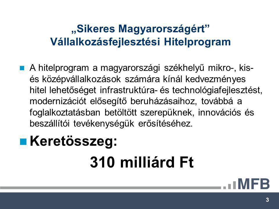"""3 """"Sikeres Magyarországért Vállalkozásfejlesztési Hitelprogram  A hitelprogram a magyarországi székhelyű mikro-, kis- és középvállalkozások számára kínál kedvezményes hitel lehetőséget infrastruktúra- és technológiafejlesztést, modernizációt elősegítő beruházásaihoz, továbbá a foglalkoztatásban betöltött szerepüknek, innovációs és beszállítói tevékenységük erősítéséhez."""