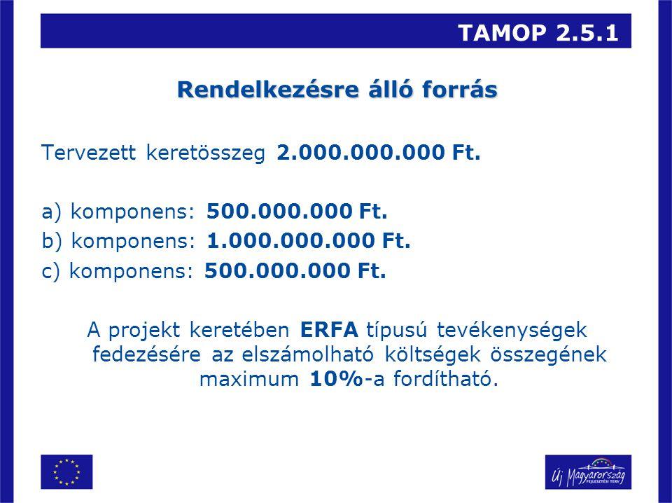 TAMOP 2.5.1 Rendelkezésre álló forrás Tervezett keretösszeg 2.000.000.000 Ft. a) komponens: 500.000.000 Ft. b) komponens: 1.000.000.000 Ft. c) kompone