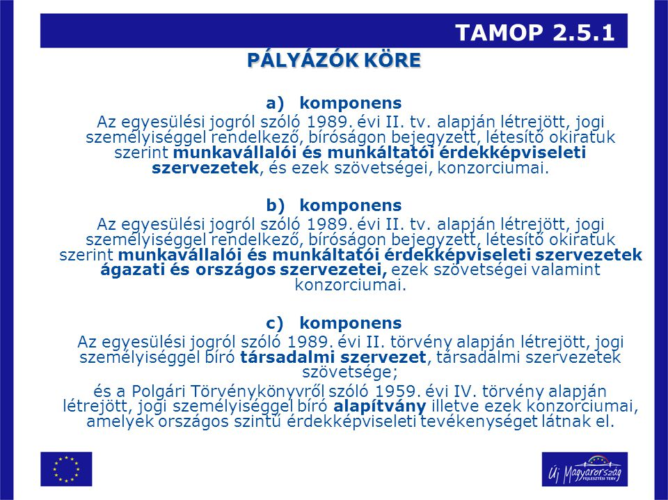 TAMOP 2.5.1 PÁLYÁZÓK KÖRE a)komponens Az egyesülési jogról szóló 1989. évi II. tv. alapján létrejött, jogi személyiséggel rendelkező, bíróságon bejegy