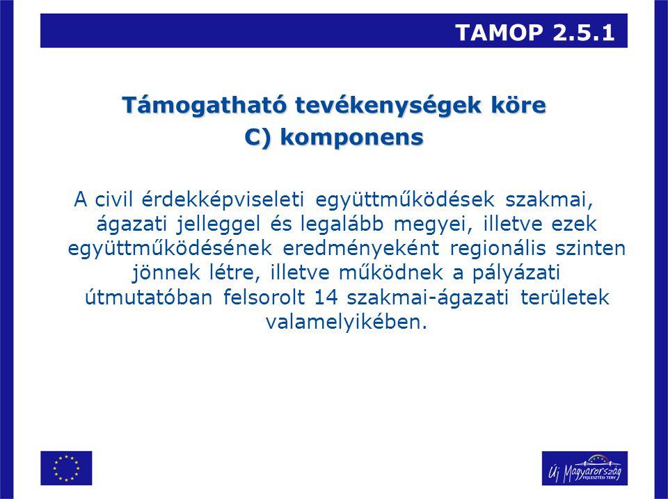 TAMOP 2.5.1 Támogatható tevékenységek köre C) komponens A civil érdekképviseleti együttműködések szakmai, ágazati jelleggel és legalább megyei, illetve ezek együttműködésének eredményeként regionális szinten jönnek létre, illetve működnek a pályázati útmutatóban felsorolt 14 szakmai-ágazati területek valamelyikében.