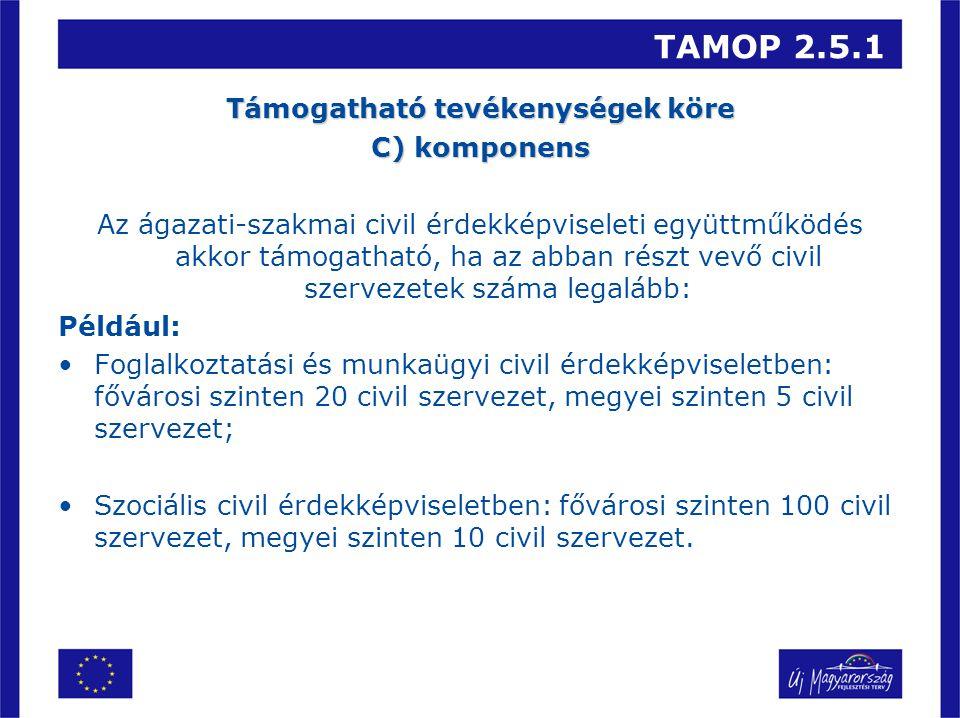 TAMOP 2.5.1 Támogatható tevékenységek köre C) komponens Az ágazati-szakmai civil érdekképviseleti együttműködés akkor támogatható, ha az abban részt v