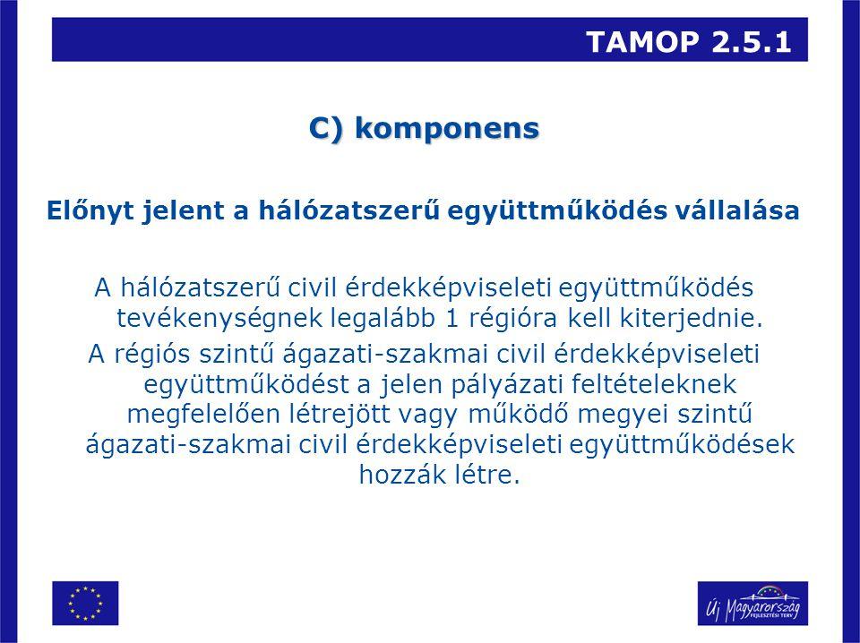 TAMOP 2.5.1 C) komponens Előnyt jelent a hálózatszerű együttműködés vállalása A hálózatszerű civil érdekképviseleti együttműködés tevékenységnek legalább 1 régióra kell kiterjednie.