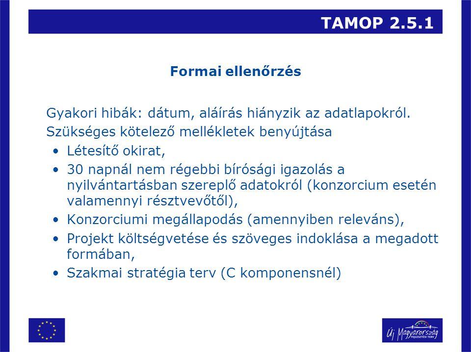 TAMOP 2.5.1 Formai ellenőrzés Gyakori hibák: dátum, aláírás hiányzik az adatlapokról. Szükséges kötelező mellékletek benyújtása •Létesítő okirat, •30