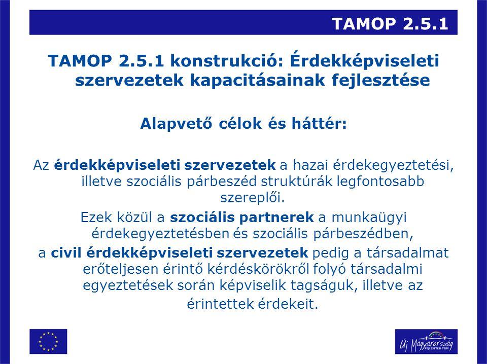 TAMOP 2.5.1 TAMOP 2.5.1 konstrukció: Érdekképviseleti szervezetek kapacitásainak fejlesztése Alapvető célok és háttér: Az érdekképviseleti szervezetek a hazai érdekegyeztetési, illetve szociális párbeszéd struktúrák legfontosabb szereplői.