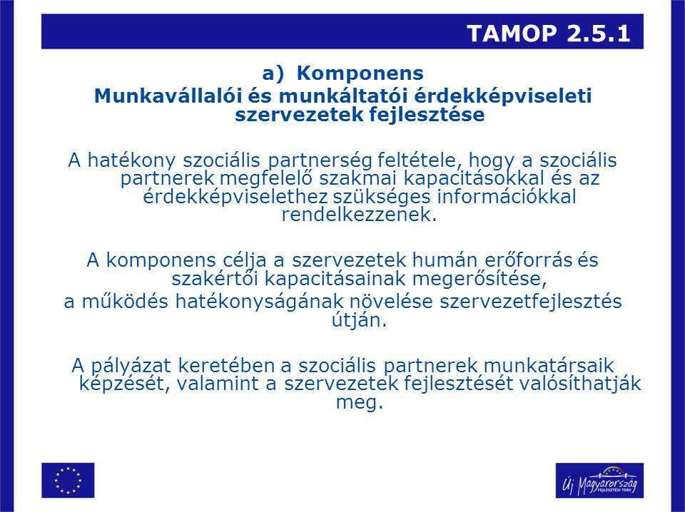 TAMOP 2.5.1 Elszámolható költségek köre C) Komponens Érdekképviseleti tevékenységet ellátó civil ernyőszervezetek kapacitásainak fejlesztése •Menedzsment költség, •Szakmai megvalósítók bér-, bérjellegű költségei, •A szervezethez tartozó munkatársak képzésének költségei, •Nemzetközi együttműködésekhez kapcsolódó költségek, •Rendezvényszervezés költségei, •Szakértői díj, kutatói díj, •Kis értékű és adminisztratív költségek