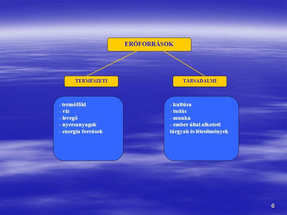 6 ERŐFORRÁSOK TERMÉSZETITÁRSADALMI - termőföld - víz - levegő - nyersanyagok - energia források - kultúra - tudás - munka - ember által alkotott tárgyak és létesítmények