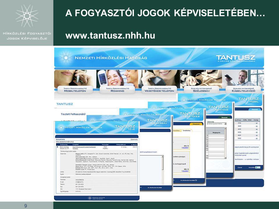 9 A FOGYASZTÓI JOGOK KÉPVISELETÉBEN… www.tantusz.nhh.hu