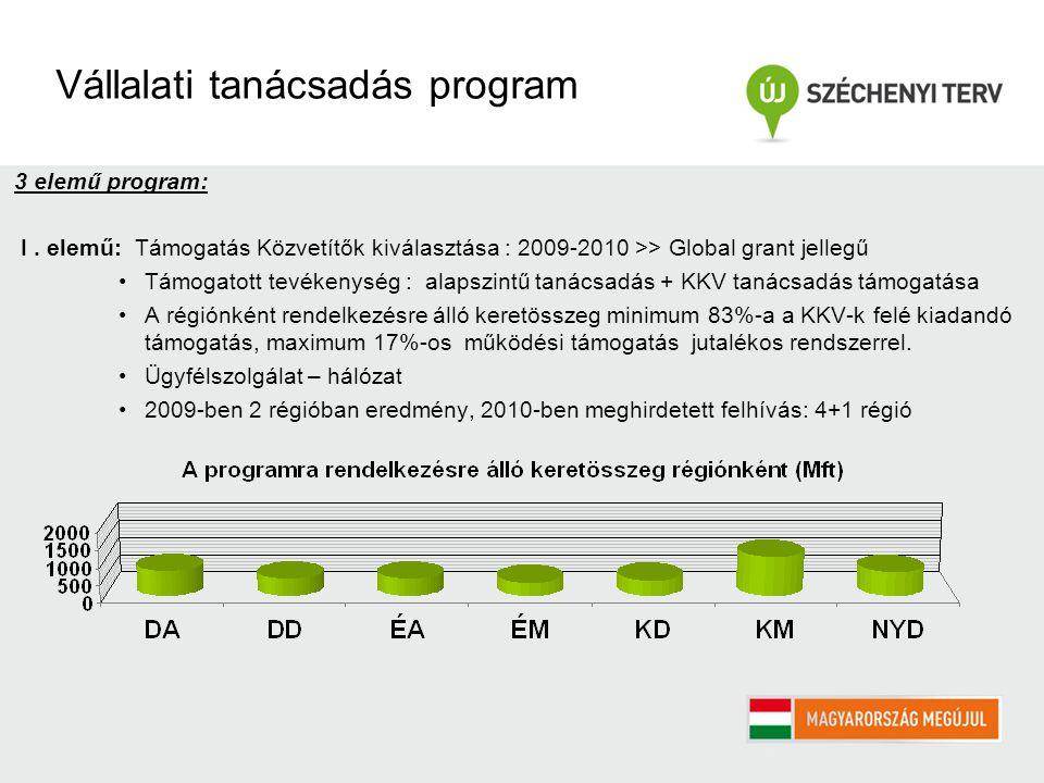 Vállalati tanácsadás program 3 elemű program: I.