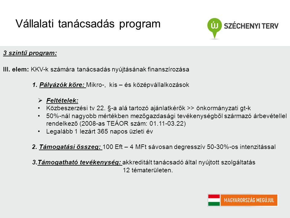 3 szintű program: III. elem: KKV-k számára tanácsadás nyújtásának finanszírozása 1.