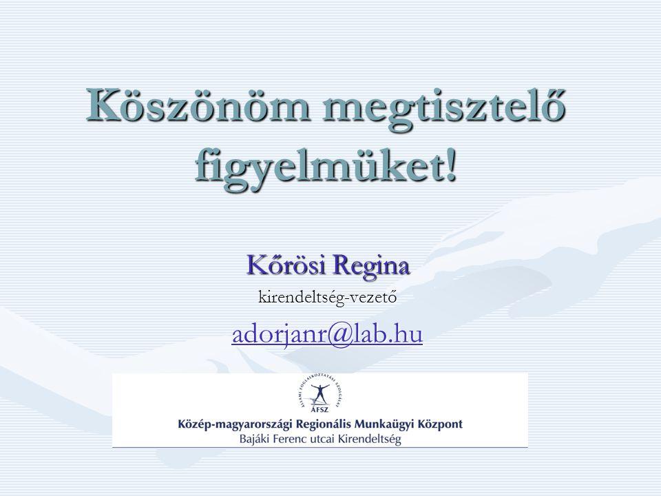 Köszönöm megtisztelő figyelmüket! Kőrösi Regina kirendeltség-vezető adorjanr@lab.hu