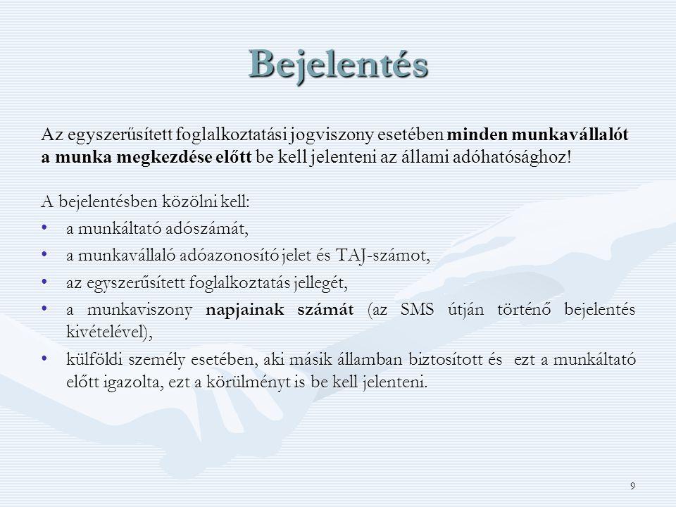 9 Bejelentés Az egyszerűsített foglalkoztatási jogviszony esetében minden munkavállalót a munka megkezdése előtt be kell jelenteni az állami adóhatósá