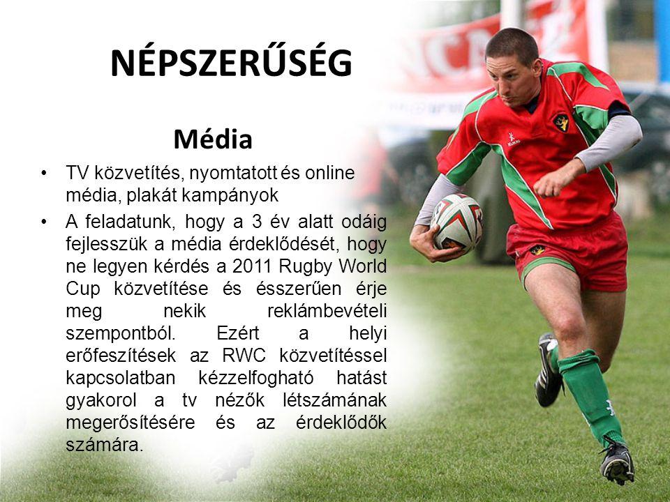 Média •TV közvetítés, nyomtatott és online média, plakát kampányok •A feladatunk, hogy a 3 év alatt odáig fejlesszük a média érdeklődését, hogy ne legyen kérdés a 2011 Rugby World Cup közvetítése és ésszerűen érje meg nekik reklámbevételi szempontból.