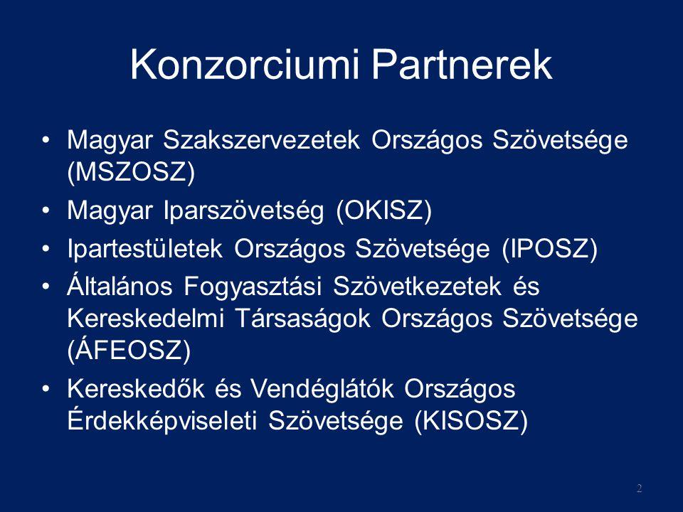 Konzorciumi Partnerek •Magyar Szakszervezetek Országos Szövetsége (MSZOSZ) •Magyar Iparszövetség (OKISZ) •Ipartestületek Országos Szövetsége (IPOSZ) •