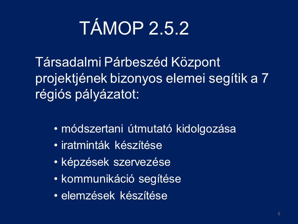 6 TÁMOP 2.5.2 Társadalmi Párbeszéd Központ projektjének bizonyos elemei segítik a 7 régiós pályázatot: •módszertani útmutató kidolgozása •iratminták készítése •képzések szervezése •kommunikáció segítése •elemzések készítése