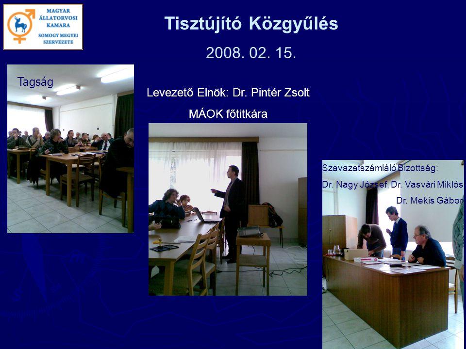 Tisztújító Közgyűlés 2008. 02. 15. Tagság Szavazatszámláló Bizottság: Dr.