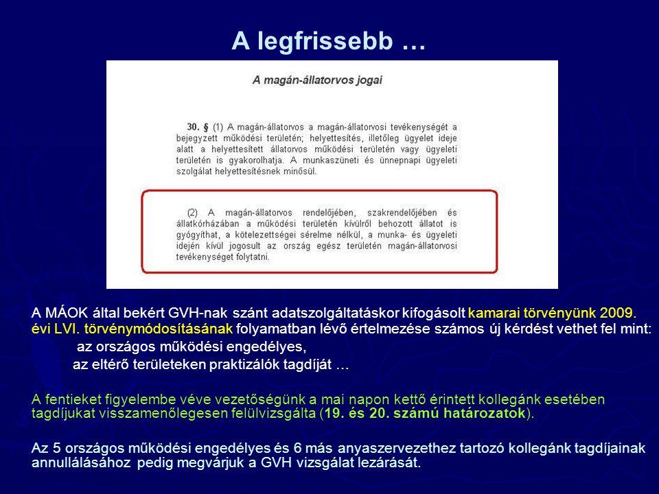 A legfrissebb … A MÁOK által bekért GVH-nak szánt adatszolgáltatáskor kifogásolt kamarai törvényünk 2009.