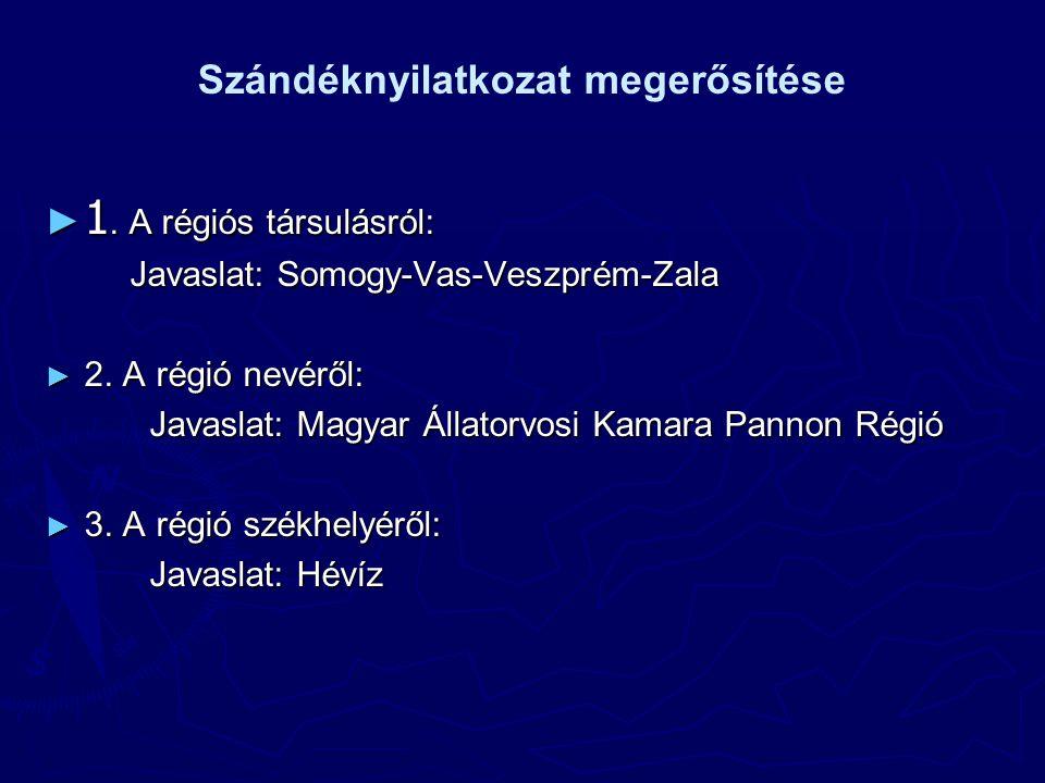 Szándéknyilatkozat megerősítése ► 1. A régiós társulásról: Javaslat: Somogy-Vas-Veszprém-Zala ► 2.