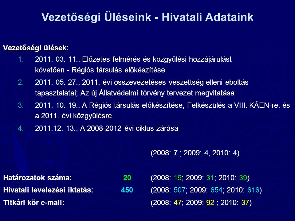 Vezetőségi ülések: 1. 1.2011. 03.