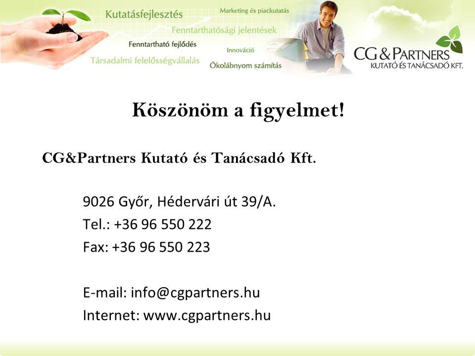 Köszönöm a figyelmet! 9026 Győr, Hédervári út 39/A. Tel.: +36 96 550 222 Fax: +36 96 550 223 E-mail: info@cgpartners.hu Internet: www.cgpartners.hu CG