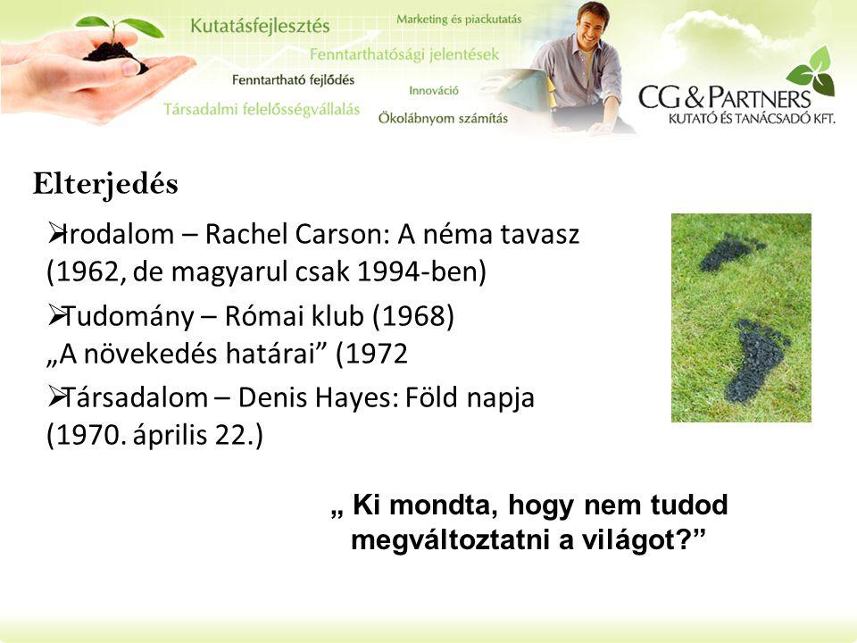 """Elterjedés  Irodalom – Rachel Carson: A néma tavasz (1962, de magyarul csak 1994-ben)  Tudomány – Római klub (1968) """"A növekedés határai"""" (1972  Tá"""