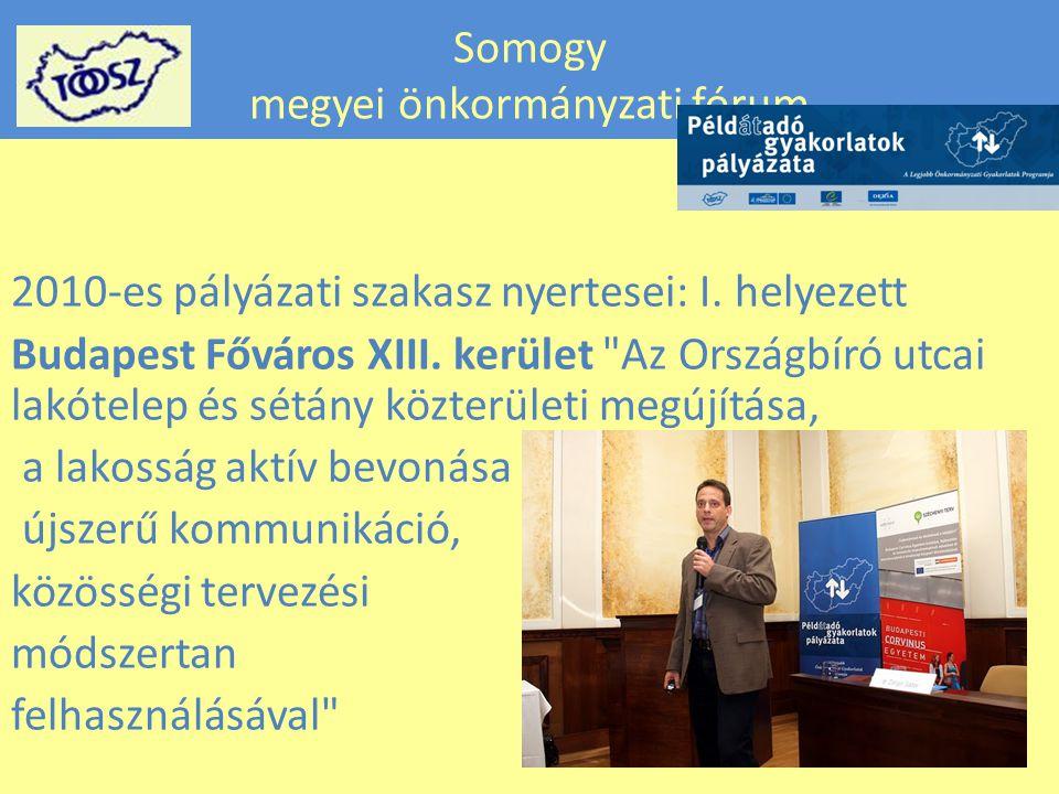 Somogy megyei önkormányzati fórum 2010-es pályázati szakasz nyertesei: I.