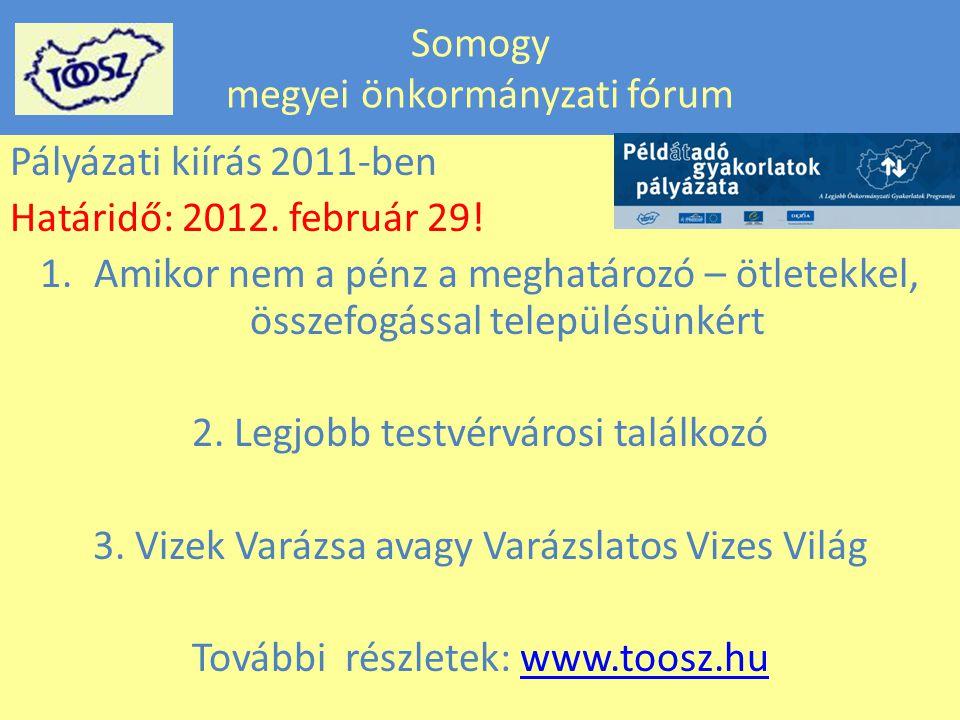 Somogy megyei önkormányzati fórum Pályázati kiírás 2011-ben Határidő: 2012.
