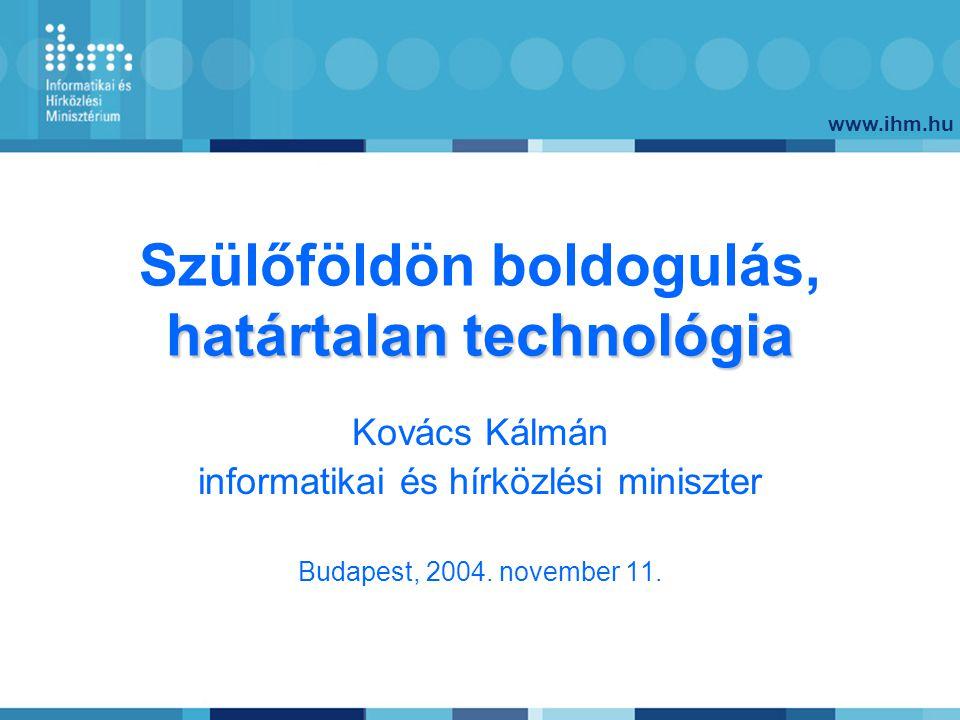 www.ihm.hu határtalan technológia Szülőföldön boldogulás, határtalan technológia Kovács Kálmán informatikai és hírközlési miniszter Budapest, 2004.