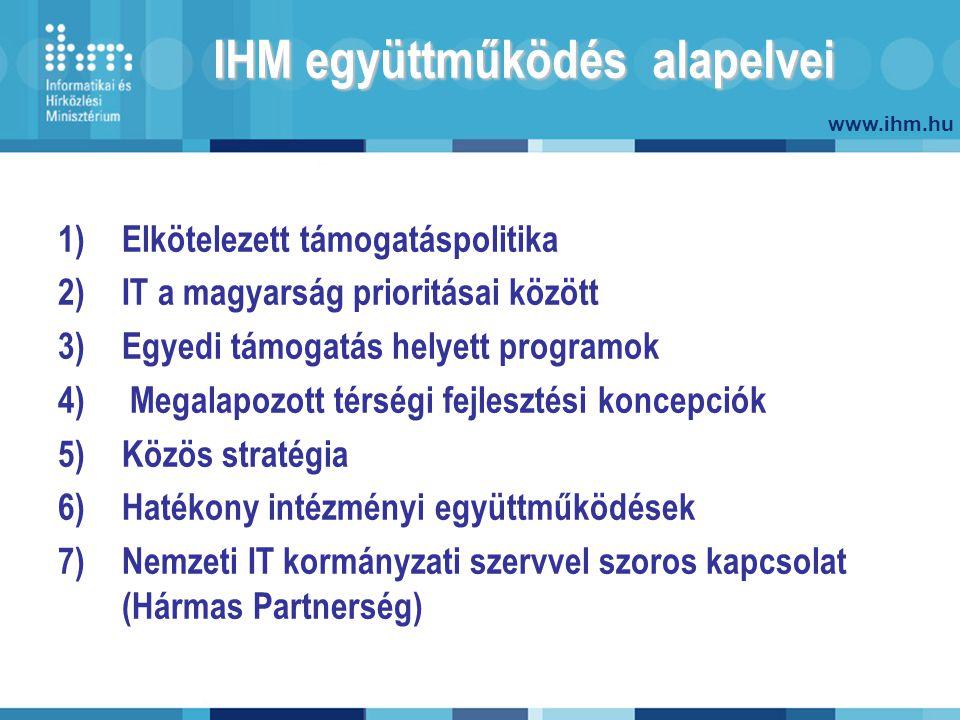 www.ihm.hu IHM együttműködés alapelvei 1)Elkötelezett támogatáspolitika 2)IT a magyarság prioritásai között 3)Egyedi támogatás helyett programok 4) Megalapozott térségi fejlesztési koncepciók 5)Közös stratégia 6)Hatékony intézményi együttműködések 7)Nemzeti IT kormányzati szervvel szoros kapcsolat (Hármas Partnerség)