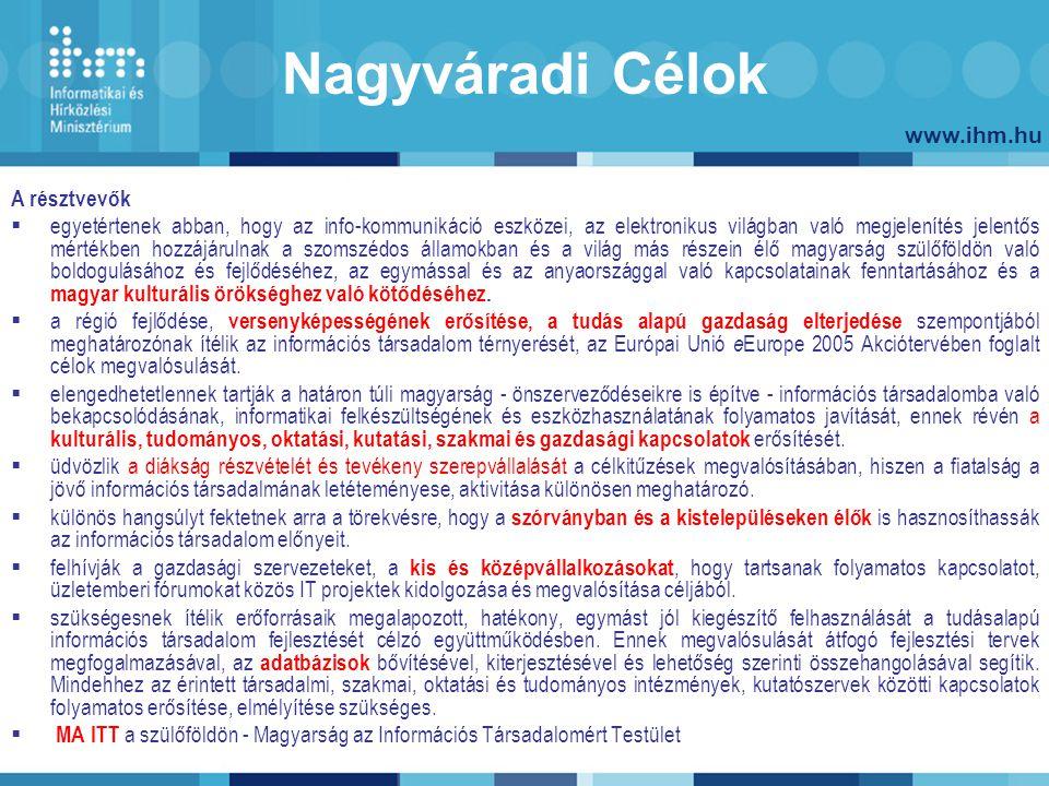 www.ihm.hu Nagyváradi Célok A résztvevők  egyetértenek abban, hogy az info-kommunikáció eszközei, az elektronikus világban való megjelenítés jelentős mértékben hozzájárulnak a szomszédos államokban és a világ más részein élő magyarság szülőföldön való boldogulásához és fejlődéséhez, az egymással és az anyaországgal való kapcsolatainak fenntartásához és a magyar kulturális örökséghez való kötődéséhez.