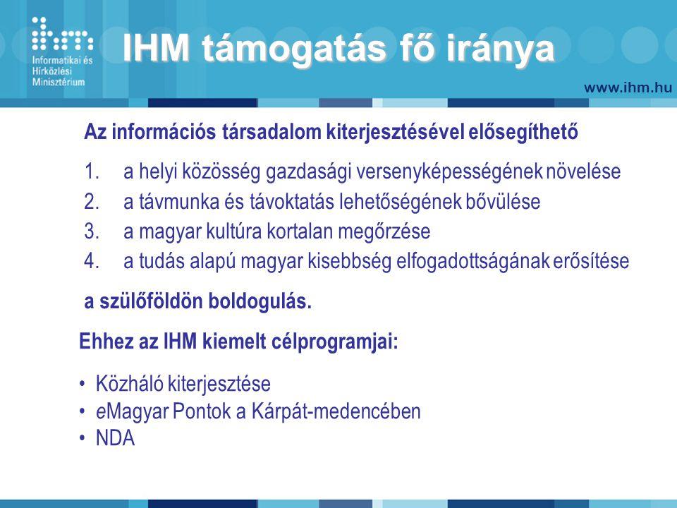 www.ihm.hu IHM támogatás fő iránya Az információs társadalom kiterjesztésével elősegíthető 1.a helyi közösség gazdasági versenyképességének növelése 2.a távmunka és távoktatás lehetőségének bővülése 3.a magyar kultúra kortalan megőrzése 4.a tudás alapú magyar kisebbség elfogadottságának erősítése a szülőföldön boldogulás.